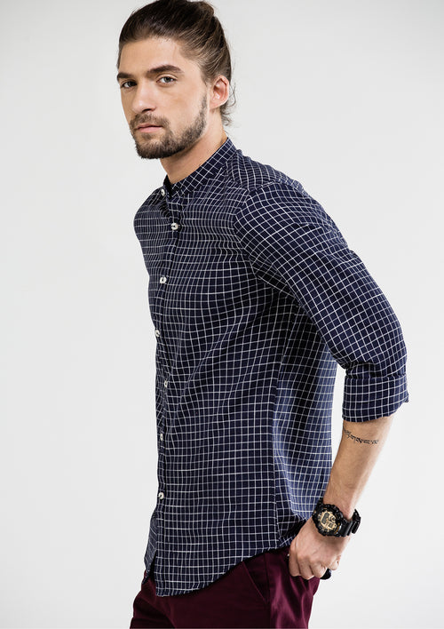 Gentleman Fine Check Long Sleeve Shirt - Navy