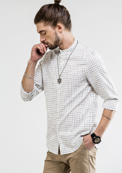 Gentleman Fine Check Long Sleeve Shirt - White