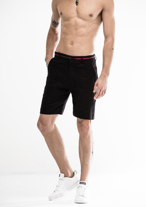 Grosgrain Bowed Linen Shorts - Black