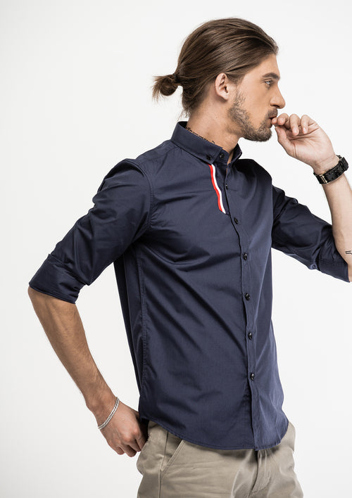 Grosgrain Details Long Sleeve Shirt - Navy