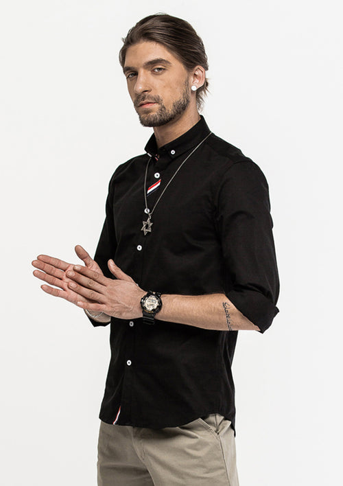 Grosgrain Placket Long Sleeve Shirt - Black