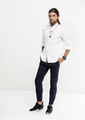 Grosgrain Placket Long Sleeve Shirt - White