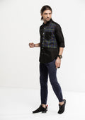 Half Checks Longline Long Sleeve Shirt - Black