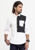 Half Checks Longline Long Sleeve Shirt - White
