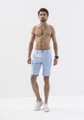Stitch Detail Casual Shorts - Blue