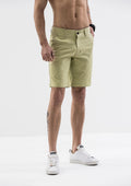 Stitch Detail Casual Shorts - Green
