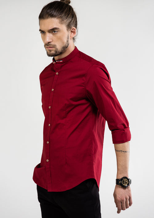 Grandad Collar Stripe Long Sleeve Shirt - Red