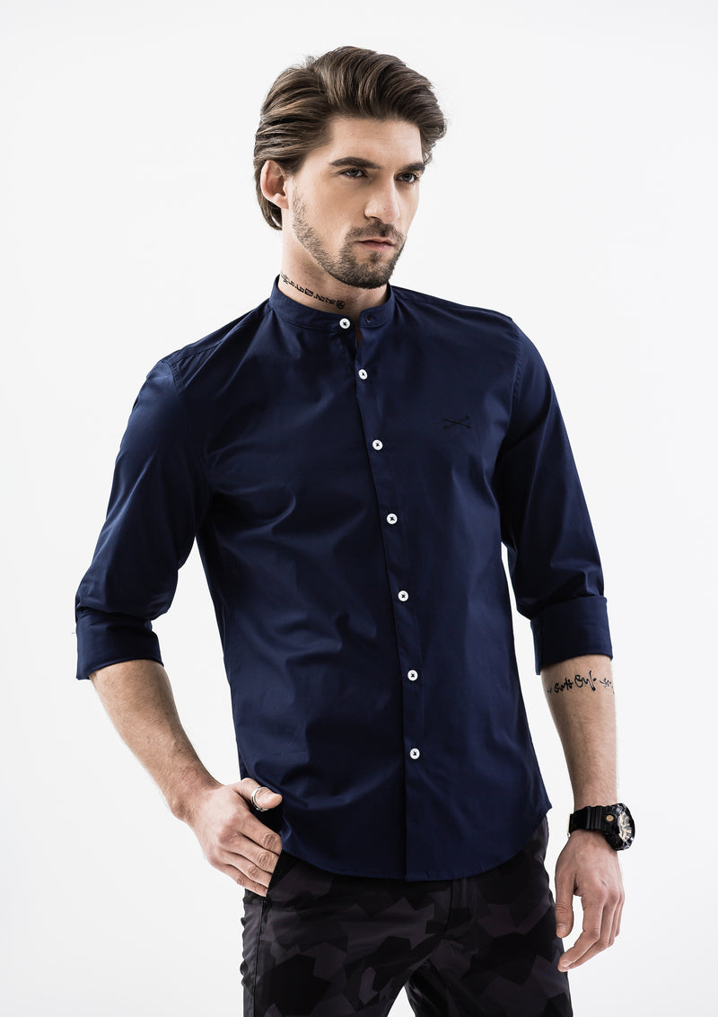 Explorer Mandarin Collar Long Sleeve Shirt - Blue