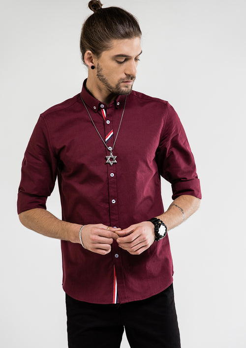 Grosgrain Placket Long Sleeve Shirt - Red