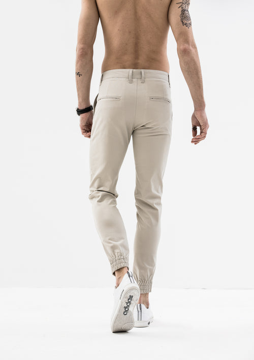 Zeus Stretched Jogger Pants - Light Beige
