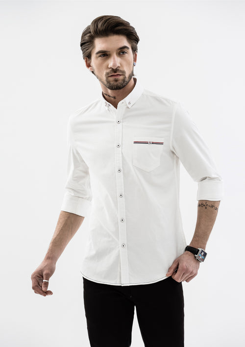 Edward Grosgrain Detailed Long Sleeve Shirt - White