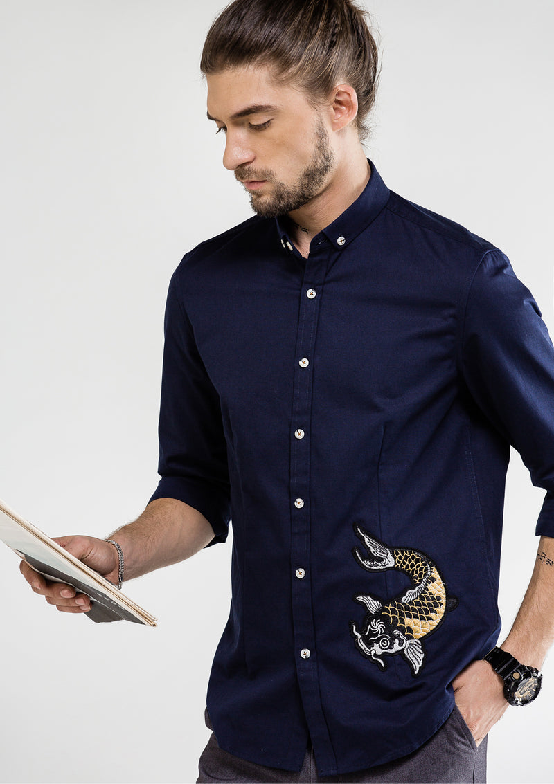 Koi Fish Oxford Long Sleeve Shirt - Navy