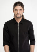 Long Zipper Long Sleeve Shirt - Black