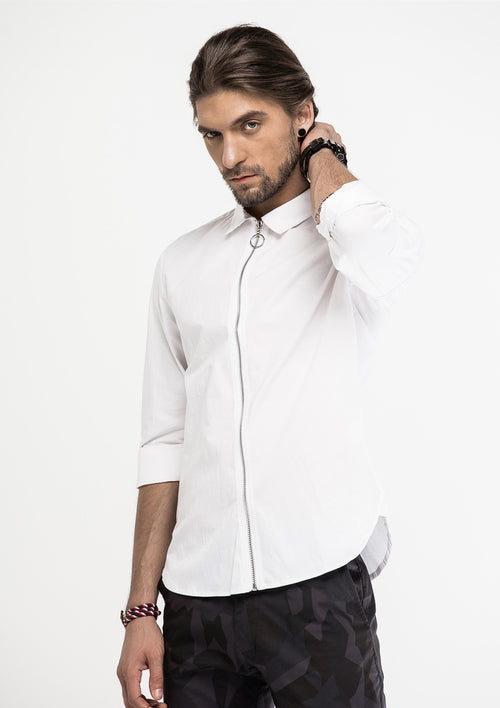 Long Zipper Long Sleeve Shirt - White