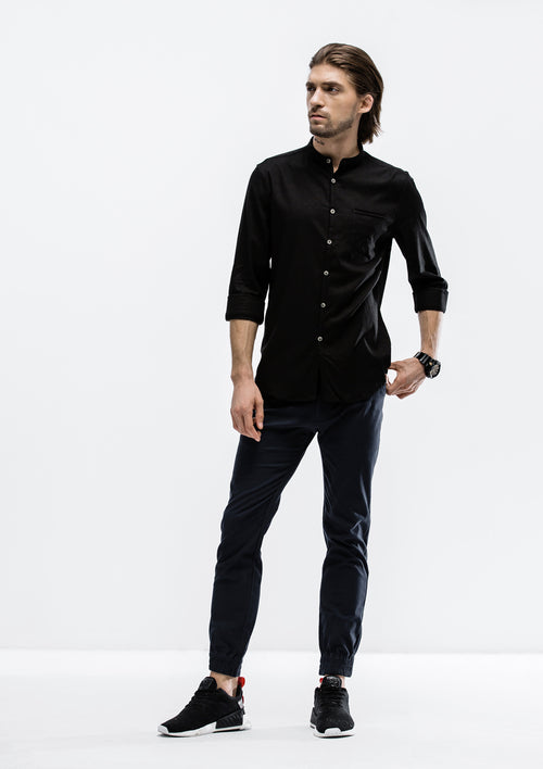 Tensile Band Collar Long Sleeve Shirt - Black