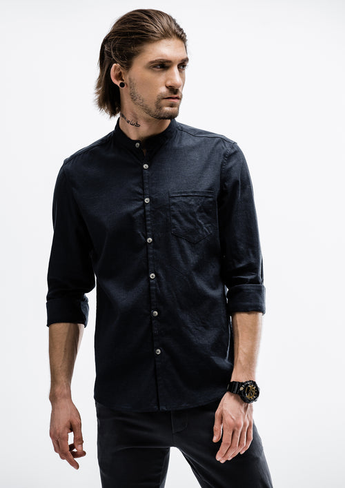 Tensile Band Collar Long Sleeve Shirt - Navy