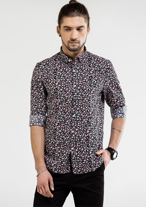 Smart Floral Printed Long Sleeve Shirt - Black