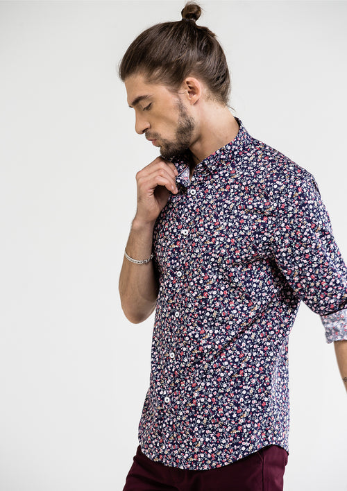 Smart Floral Printed Long Sleeve Shirt - Blue