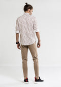 Smart Floral Printed Long Sleeve Shirt - White