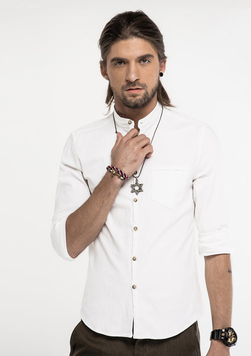 Tensile Band Collar Long Sleeve Shirt - White
