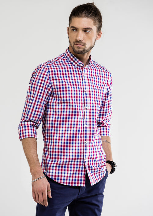 Two Tone Checked Long Sleeve Shirt - Blue