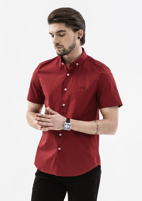 Explorer Collared Short Sleeve Shirt - Red