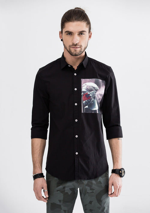 Ancient Side Print  Long Sleeve Shirt - Black
