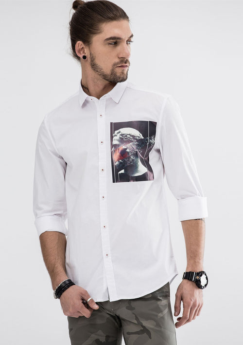 Ancient Side Print Long Sleeve Shirt - White