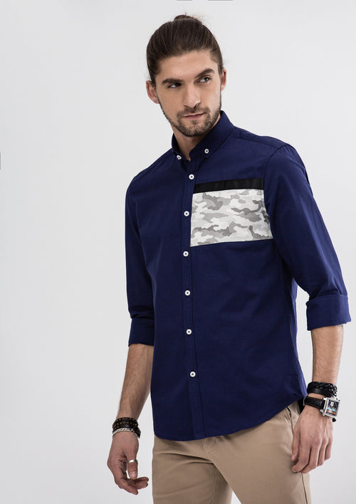 Oscar Camou Patchwork Long Sleeve Shirt - Blue