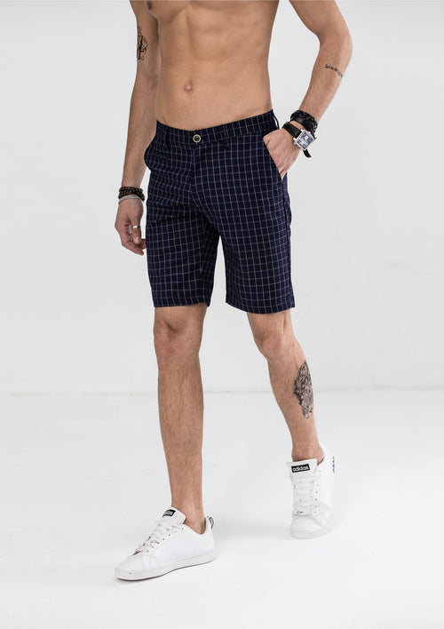 Classic Pane Checked Shorts - Blue