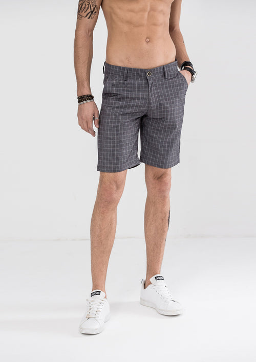Classic Pane Checked Shorts - Gray