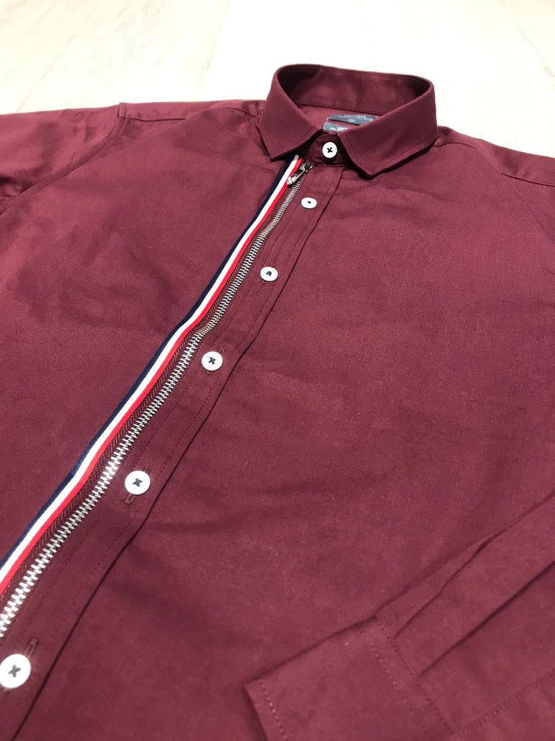 Grosgrain Zipper Long Sleeve Shirt - Red