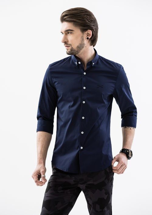 Explorer Collared Long Sleeve Shirt - Blue