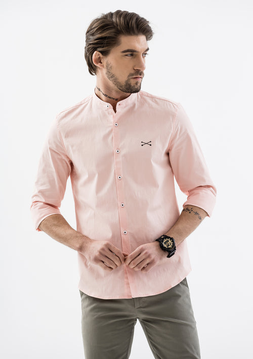 Explorer Mandarin Collar Long Sleeve Shirt - Pink