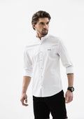 Explorer Mandarin Collar Long Sleeve Shirt - White