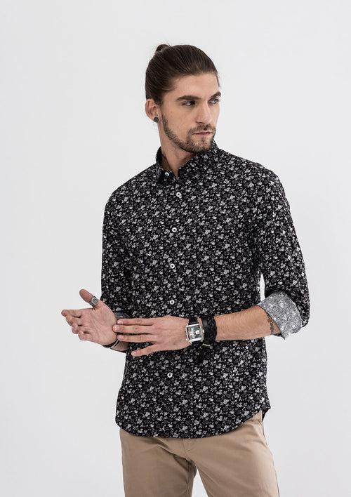 Garden Floral Long Sleeve Shirt - Black