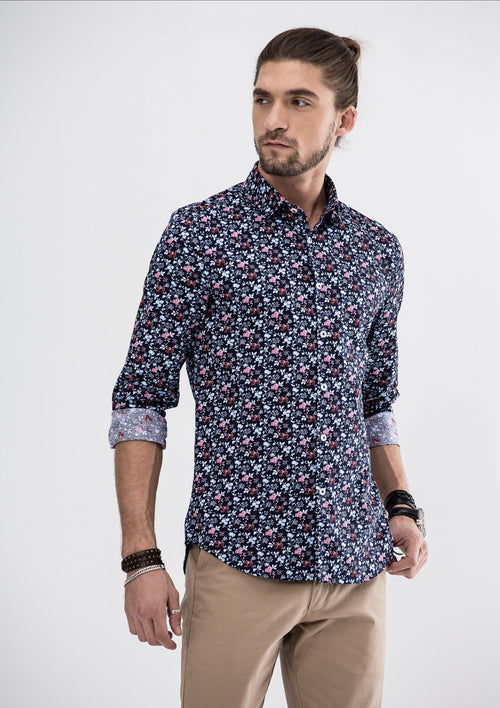 Garden Floral Long Sleeve Shirt - Blue