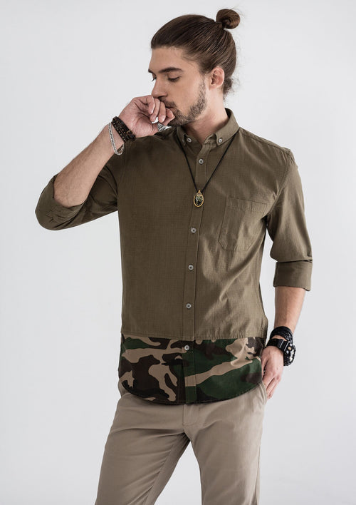 Green Camou Hem Long Sleeve Shirt - Green