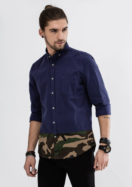 Green Camou Hem Long Sleeve Shirt - Blue