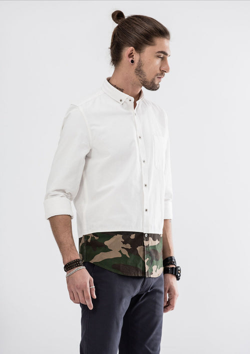 Green Camou Hem Long Sleeve Shirt - White