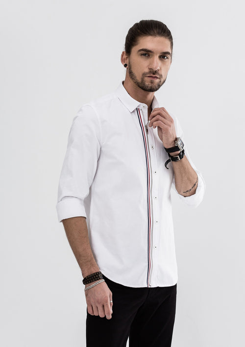 Grosgrain Zipper Long Sleeve Shirt - White