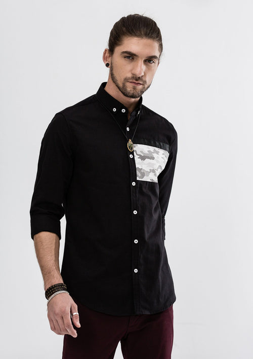 Oscar Camou Patchwork Long Sleeve Shirt - Black