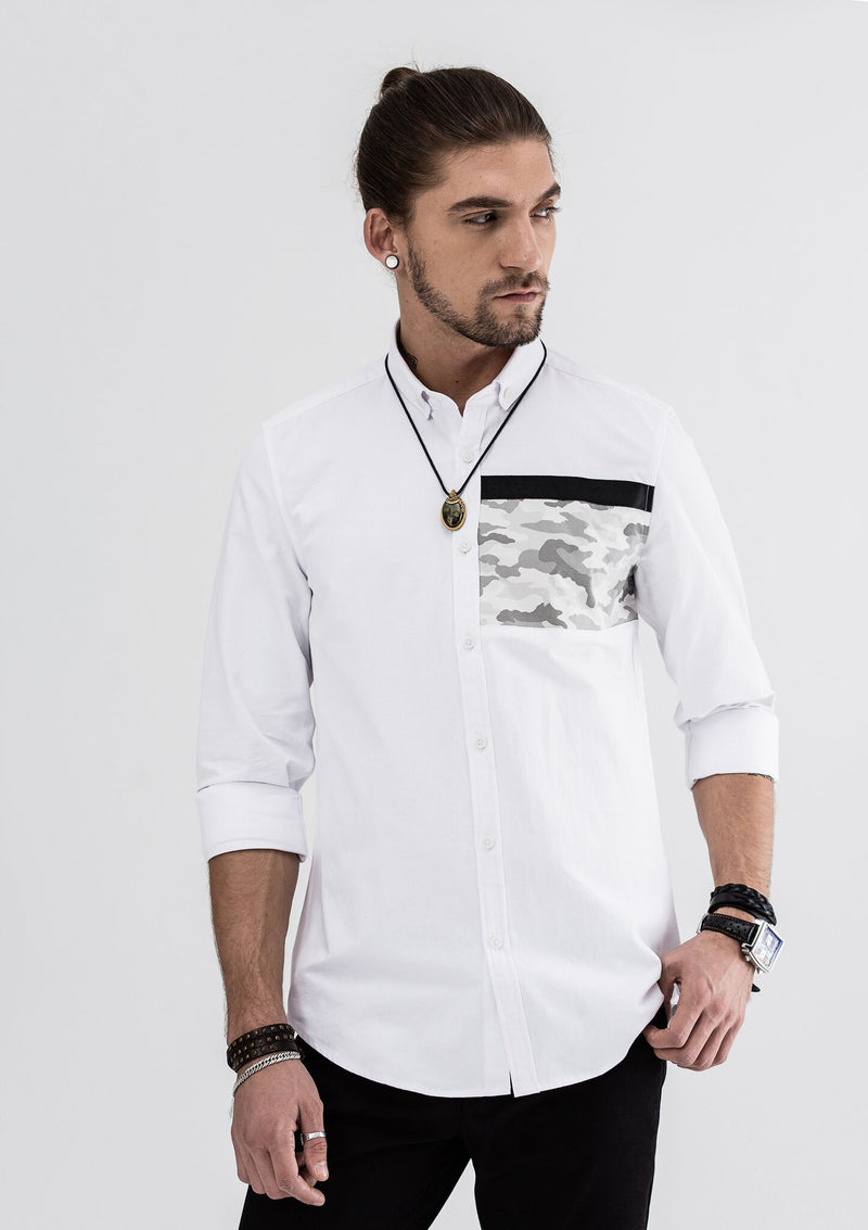 Oscar Camou Patchwork Long Sleeve Shirt - White