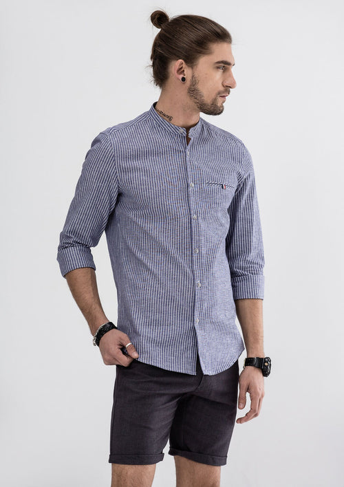 Roman Stripes Long Sleeve Shirt - Blue