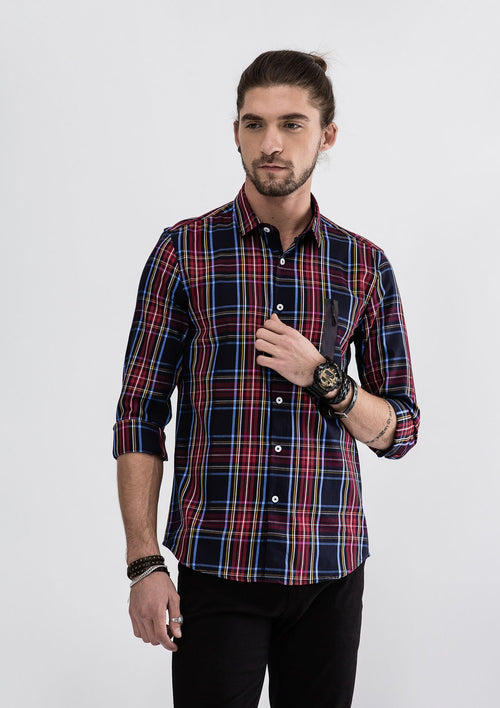 Side Zipper Checked Long Sleeve Shirt - Blue