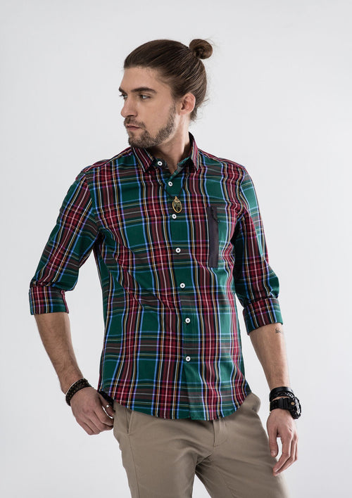 Side Zipper Checked Long Sleeve Shirt - Green