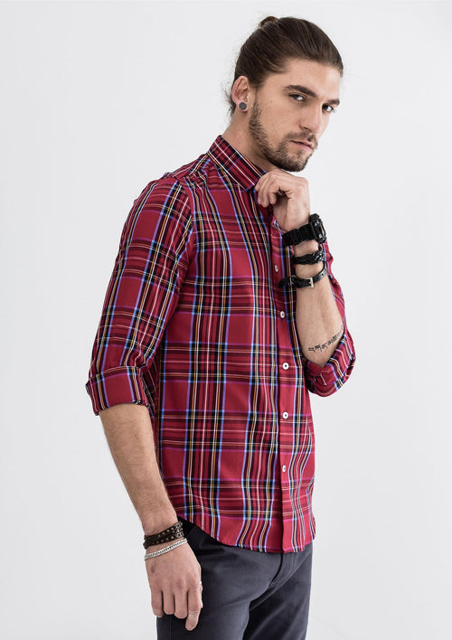 Side Zipper Checked Long Sleeve Shirt - Red