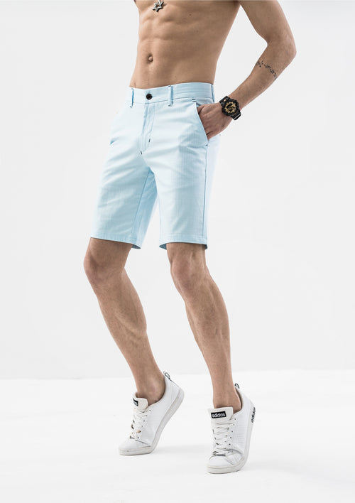 Stitch Detail Casual Shorts - Light Blue