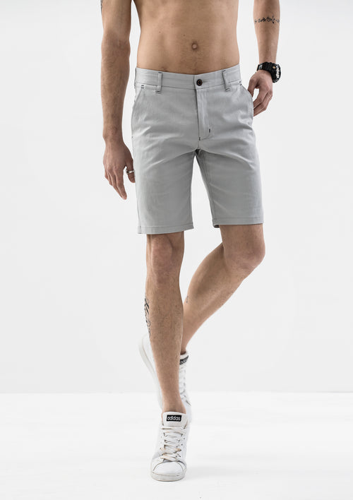 Stitch Detail Casual Shorts - Grey