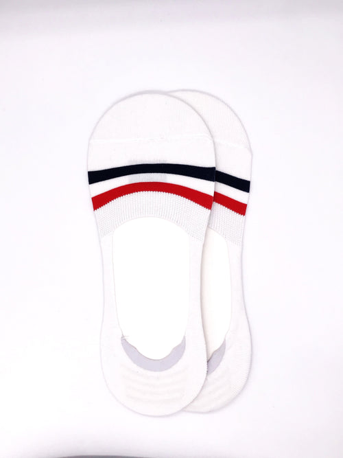 Grosgrain No-Show Socks - White